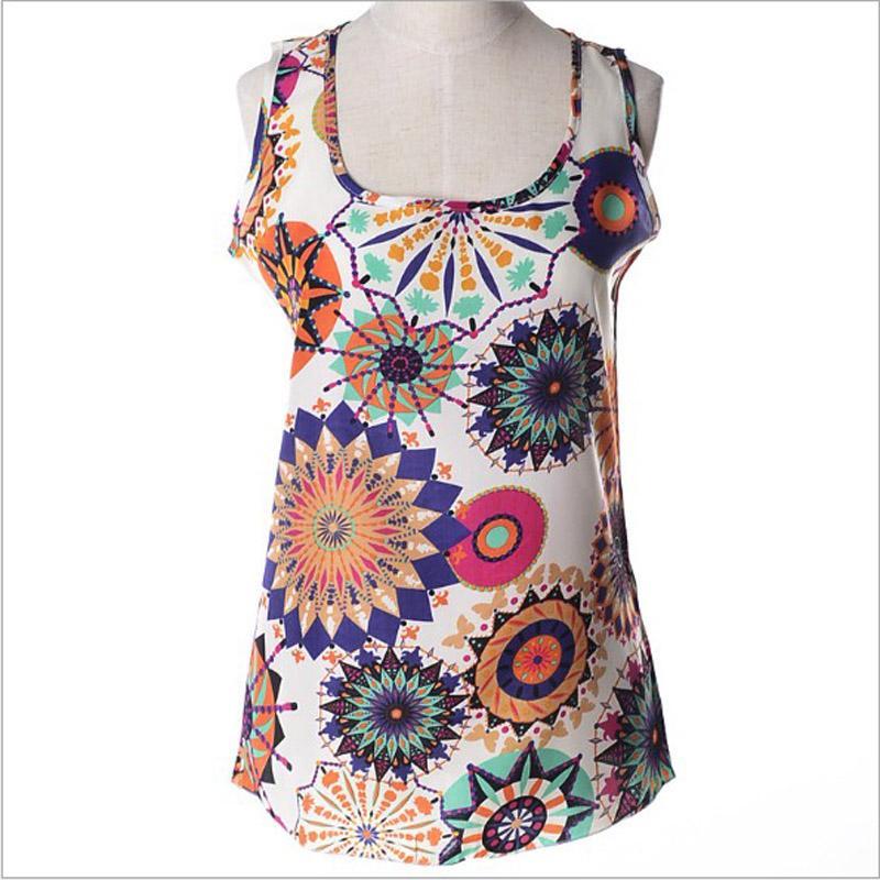 Мода женщин S-3XL плюс размер Майка флора печатных рукавов шифон топ тройники женщина топы летние случайные свободные майка для Gril