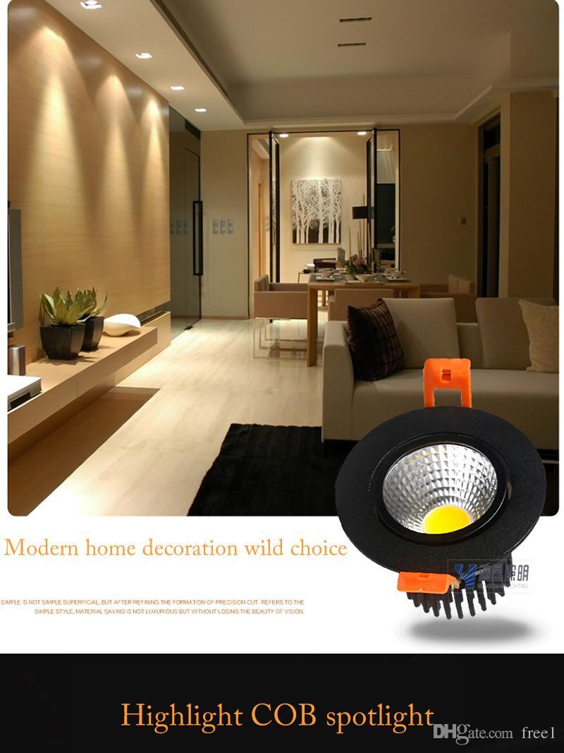 블랙 울트라 화려한 디 밍이 가능한 LED COB 통 AC110V 220V 5W 7W Recessed LED 스포트 라이트 장식 천장 램프