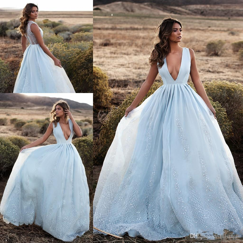 Sexy Deep V Neck Light Blue Lace Applique Prom Dresses Evening Party Dresses A Line Party Gowns Sleeveless Bridal Dresses Custom