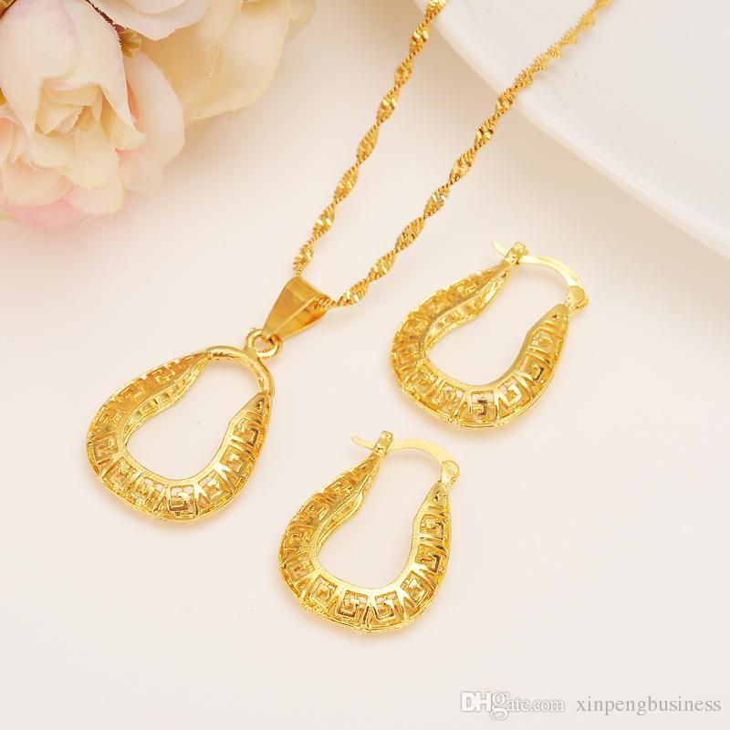 Real etíope 14 k amarillo sólido oro fino GF FINISH set joyería colgante pendientes de cadena novia africana boda U Bijoux