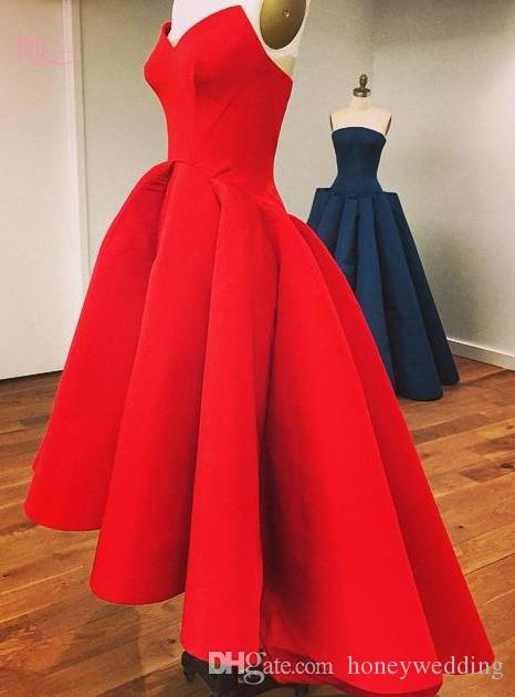 Sexy High Low Prom Dresses Cheap Sweetheart Draped In Stock Red Short Front Long Back Formal Party Dresses Evening Wear in stock