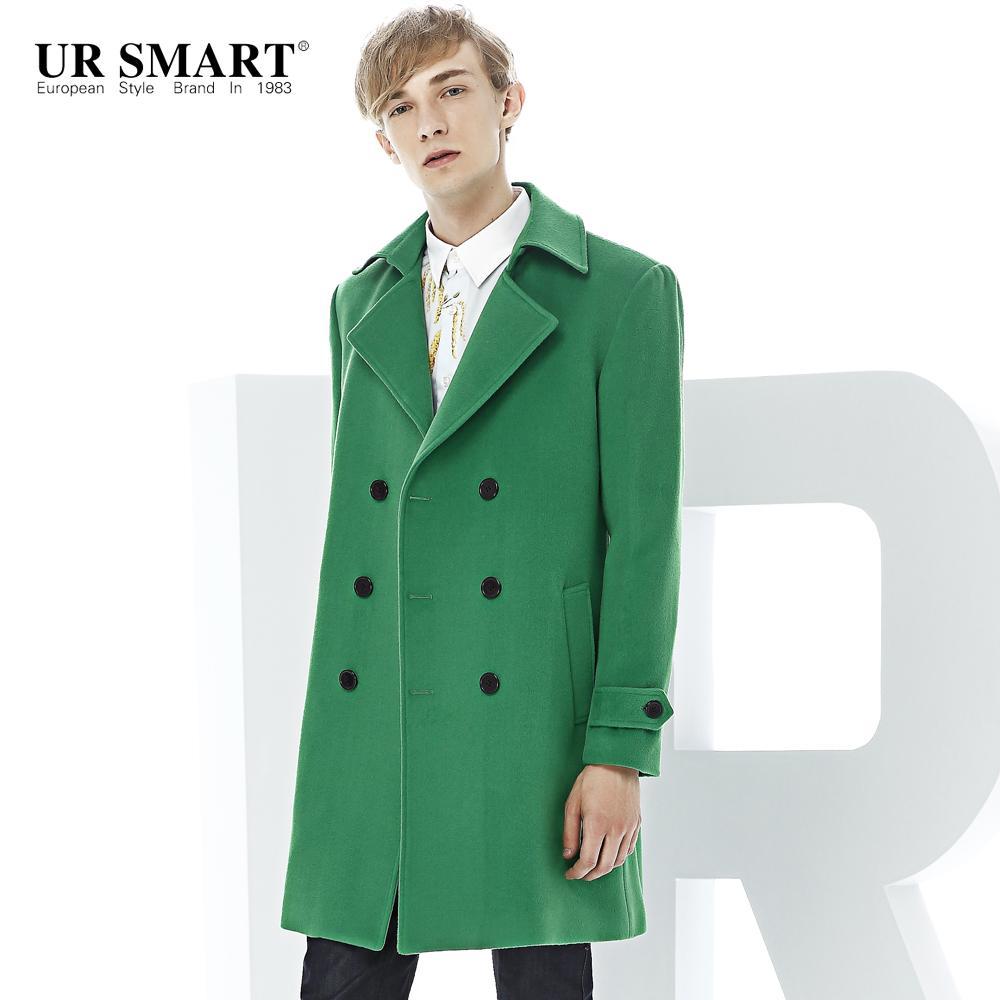 edcc4e791eeb0 Wholesale- URSMART Coat Male Long Winter New Double-breasted Men ...