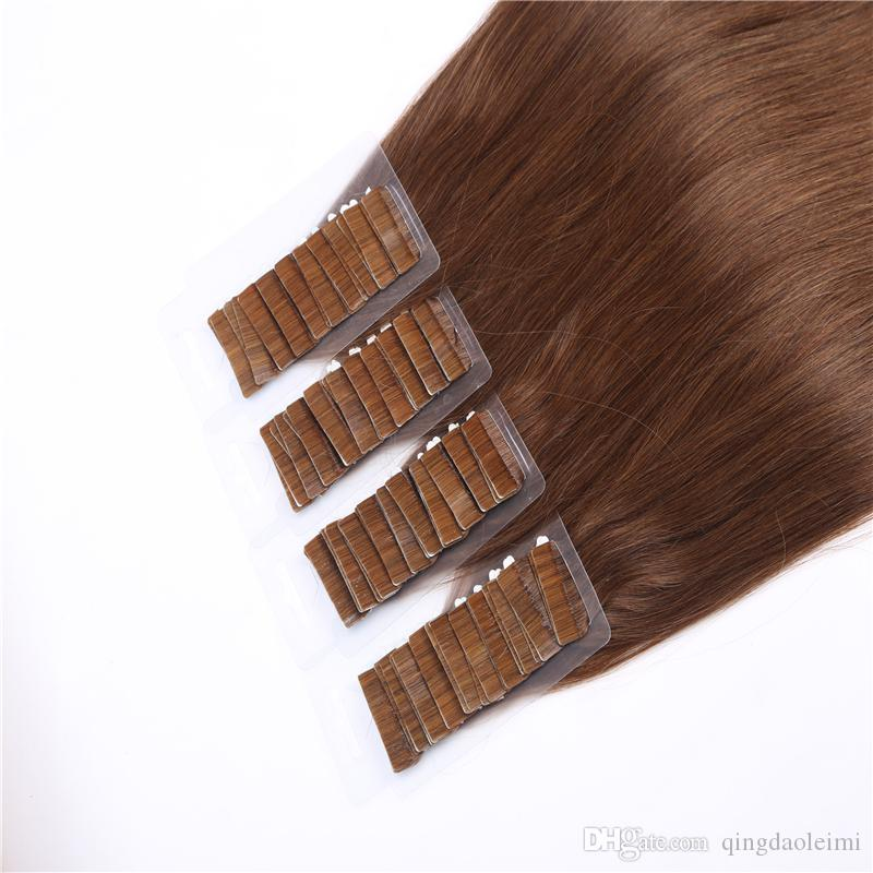 Tape in Human Hair Extensions PU Skin Weft 100% brazilan human hair straight Double-sided adhesive 20 Inchs multi color