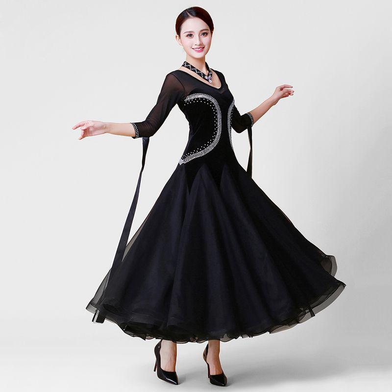 3098a5dc3dd4 2019 Standard Ballroom Dance Dress Women Elegant Black Color Competition Dancing  Costume Plus Size Waltz Tango Flamenco Dance Dresses From Cocktailfashion,  ...