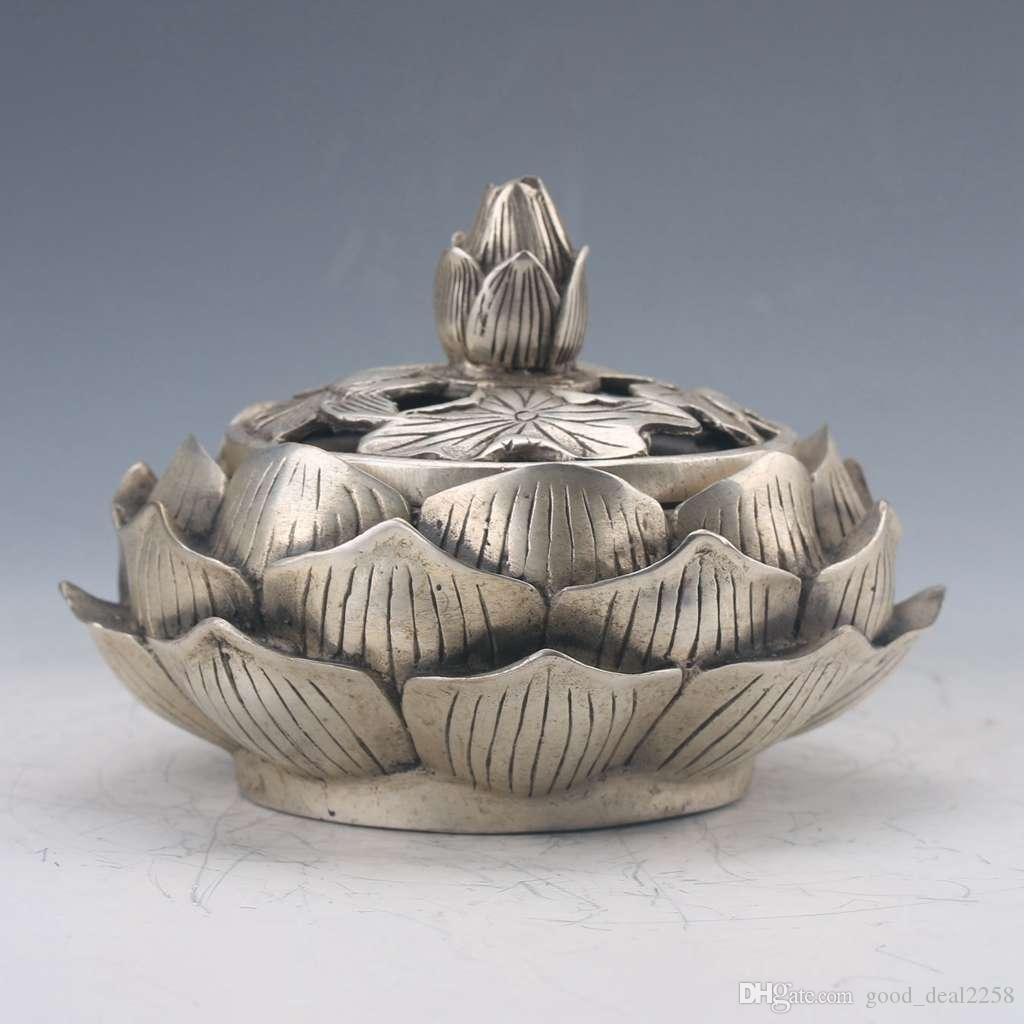 Chinese Tibetan Silver Hand-carved Lotus Incense Burner Qianlong Z206