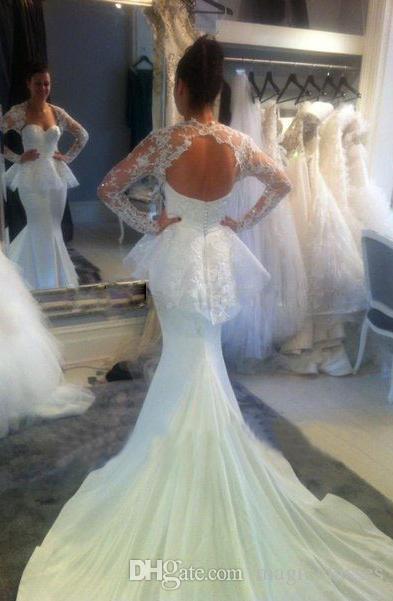 ddf0fe8a4c5c0 White Chiffon Appliques Floor Length Cathedral Train Mermaid Long Sleeves  Peplum Sheer Open Back Backless Wedding Dresses Mermaid Lace Dress  Sweetheart ...