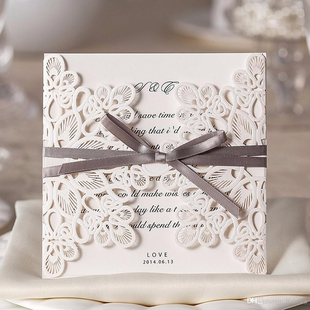 Square Lace Laser Cut Wedding Invitations Cards Flower Engagement ...