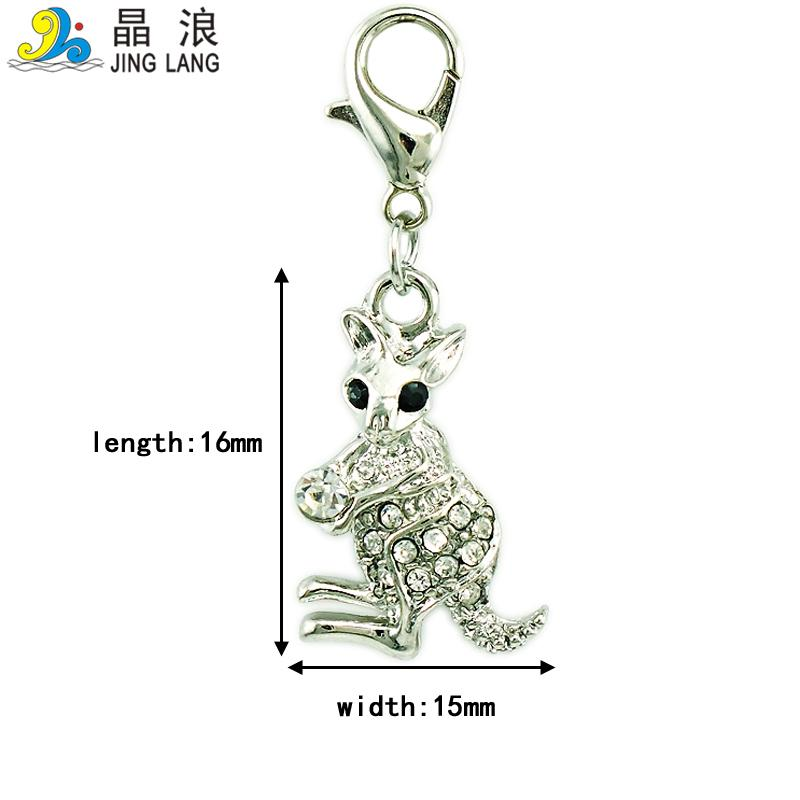 Fashion Charms Pendants Dangle Rhinestone Kangaroo Animals Charms With Lobster Clasp DIY Jewelry Making Accessories
