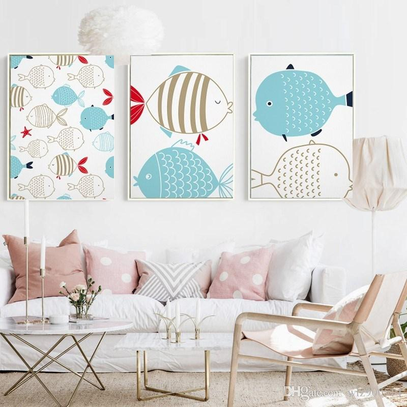 2018 Kawaii Animal Fish Poster Print Modern Nordic Cartoon Nursery Wall Art  Picture Kids Baby Room Decor Canvas Painting No Frame From Wlz900514, ...