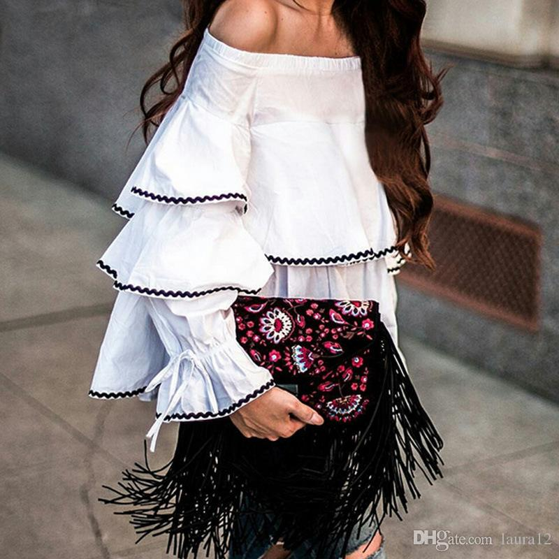 4a2037ae94 New Designer 2017 Fashion White Ruffle Long Sleeves T Shirts Lady Spring  And Summer Black And White Boat Neck Short Loose Women Top Tees Long  Sleeves Women ...