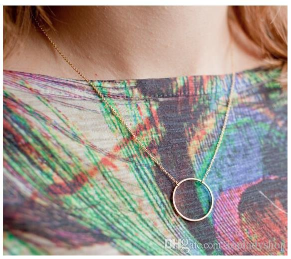 New Hot fashion simple gold and silver plated double chain Simple circle necklace for women best gift wholesale