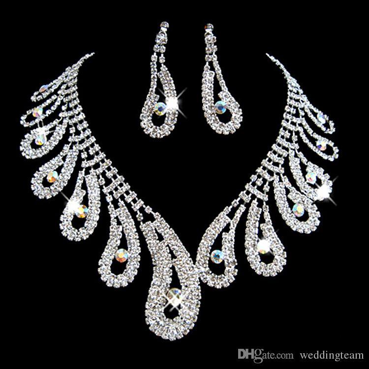 Strass à la mode Mariage Parures de Bijoux Cristaux Argent Colliers De Mariage Et Boucles D'oreilles Pour La Mariée Bal Soirée Accessoires