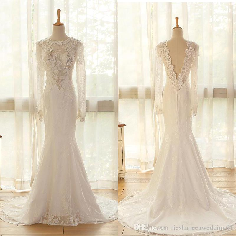 Compre Real Photos Illusion Backless Lace Sirena Vestidos De Novia ...