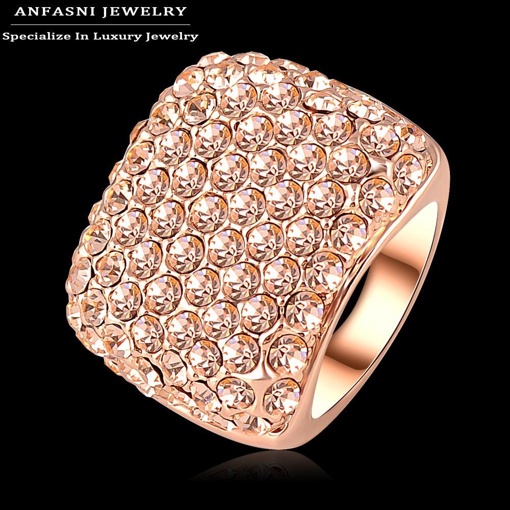 Best Anfasni Pink Crystal Square Ring Rose Gold Plated Big Ring