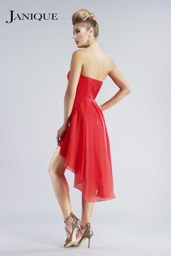 2018 Prom Dresses Janique Cocktail Dresses Little Black Party Homecoming Dresses Asymmetrical Black Lace Chiffon Applique Strapless Backless