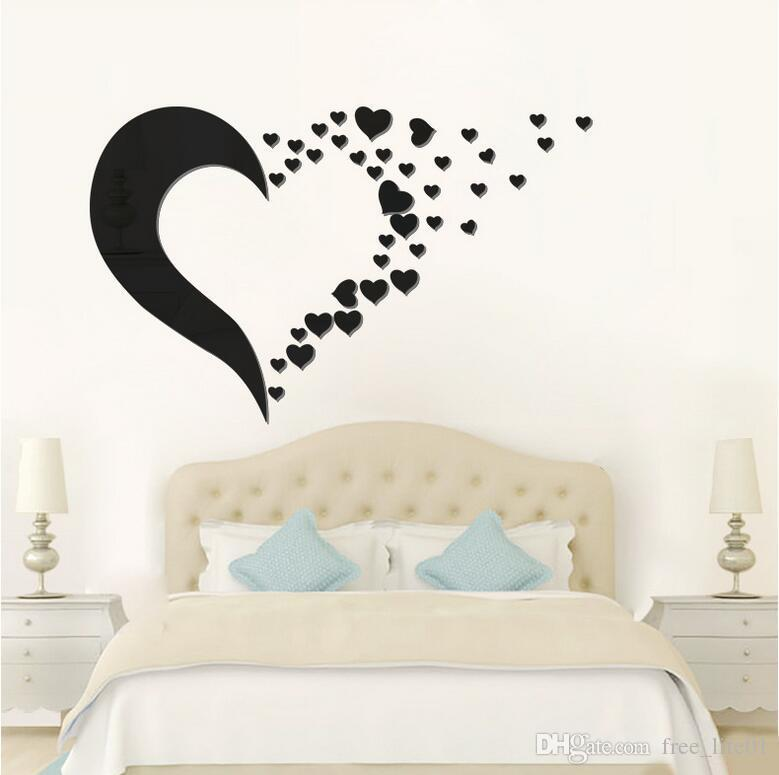 3d mirror wall sticker love heart set acrylic mural decal removable