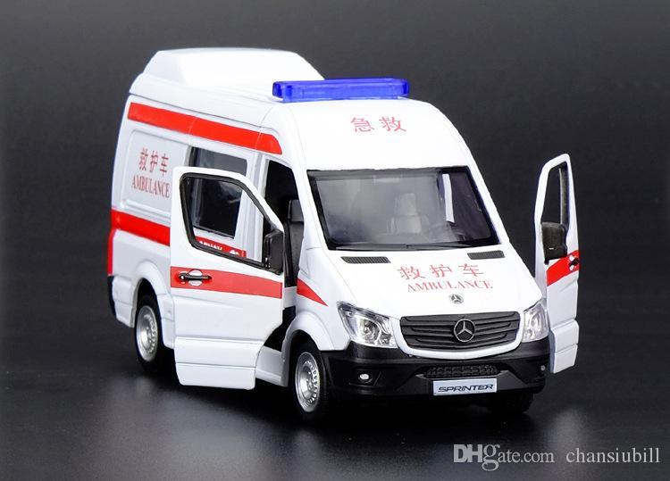 1:36 مقياس دييكاست معدنية سبيكة سيارة إسعاف موديل السيارة لمجموعة عداء المرخصة RV نموذج سحب سيارات لعب العقارية