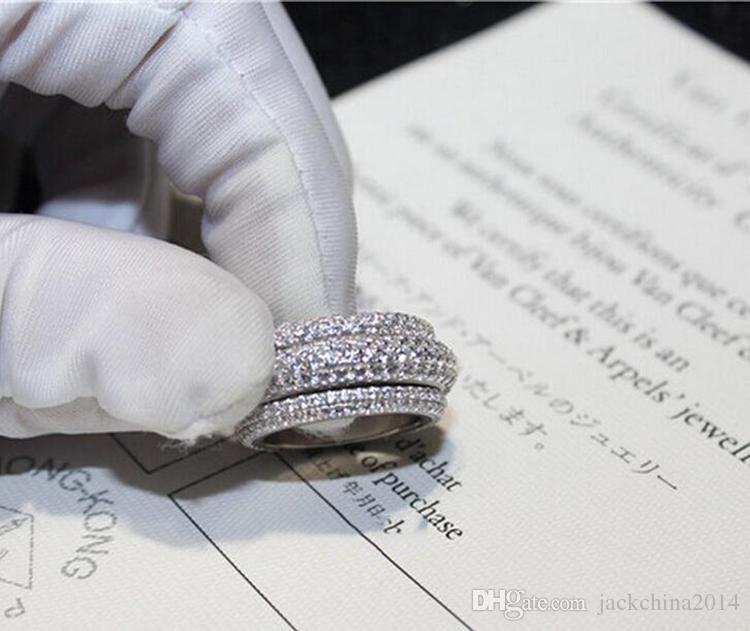 빅토리아 Wieck 럭셔리 쥬얼리 전체 초소형 5A 큐빅 지르코니아 925 스털링 실버 화이트 토파즈 여성 결혼식 약혼 반지 5-11 선물