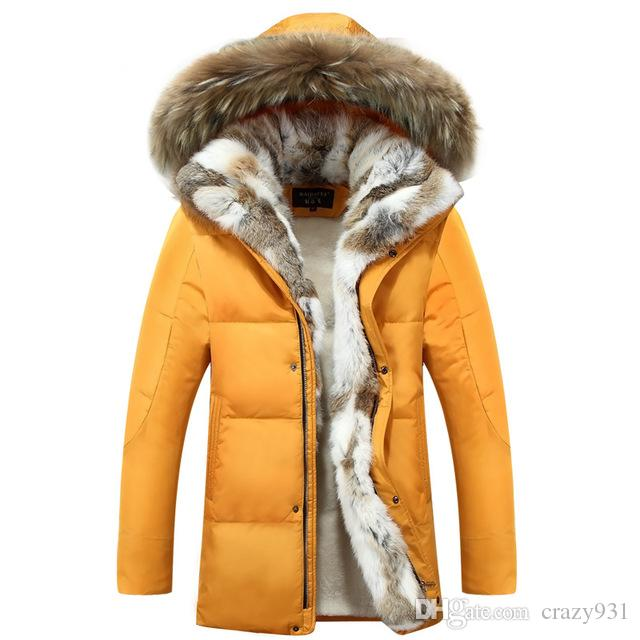 Winter Men's Duck Down Jackets Coats Real Rabbit Fur Men Women Lovers Fashion Thick Warm Parka Classic Mens jaqueta masculina