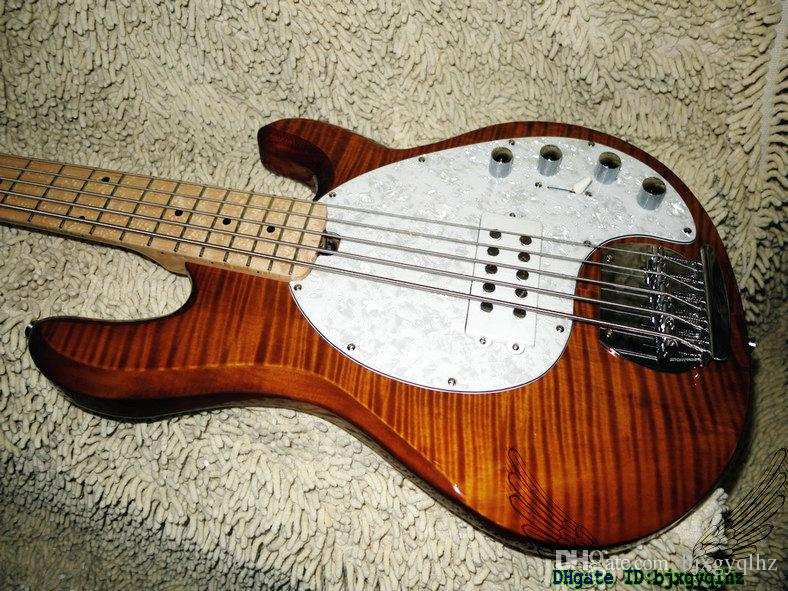 Brown Flame Top StingRay 5 Electric Bass Maple Fingerboard High Quality Best Selling