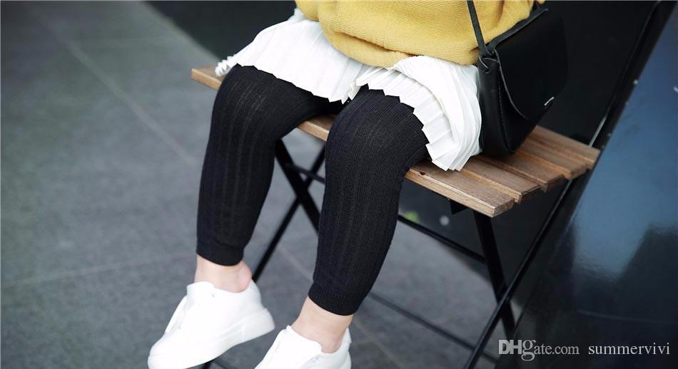 Bambino leggings in cotone ragazze pit banda della principessa leggings a vita alta inverno pantaloni bambini maglieria autunno bambini bambini abbigliamento sotto R0083