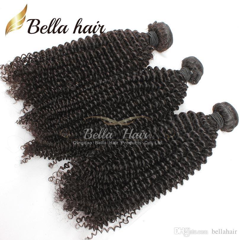 Brezilyalı Saç Sapıkça Kıvırcık Bakire Insan Saçı Örgüleri Uzantıları Demetleri Sınıf 7A 3 adet Doğal Renk Küçük Kıvırmak Bellahair