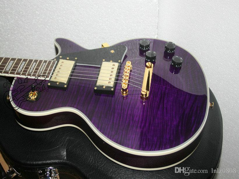 Бесплатная доставка новый фиолетовый пользовательские электрическая гитара красное дерево тела высокое качество A6789