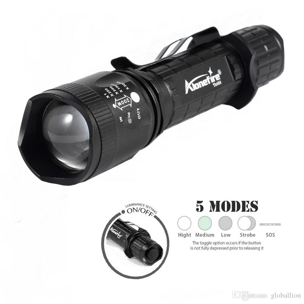 AloneFire TK400 LED Flashlight XM-L L2 Aluminum Waterproof Zoom rechargeable Tactical Flashlight Torch 5 Mode Torch Lamp