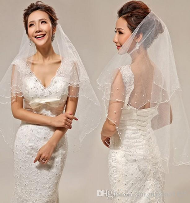 The bride wedding dress red white layer 2 1.5 meters long veil scallop edge new pearl yarn supply wholesale and sale