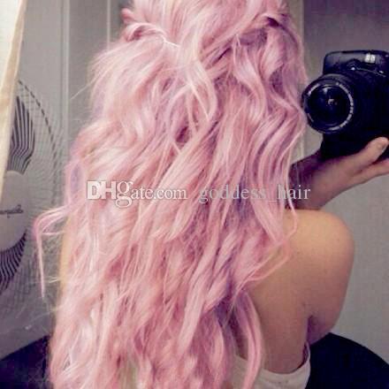 Paquetes de cabello humano de la Virgen rosa malasio con encaje Frontal 13x4 Extensión de la trama de cabello color de rosa puro cuerpo onda con cierre frontal de encaje