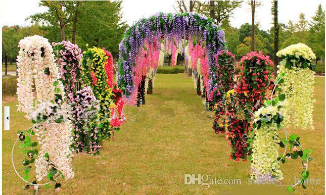 Glamorous Wedding Ideas Elegant Artifical Silk Flower Wisteria Vine Wedding Decorations 3forks piece High Quantity Long 72cm 110cm