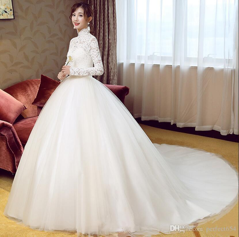 Discount Real Picture Ball Gown White Lace Muslim High Neck Wedding ...