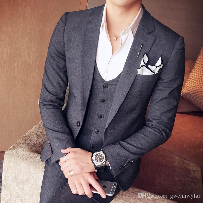 2017 Groom Tuxedos Slim Fit Grey white Groomsmen Side Vent Best Man Suit Wedding Men Suits Bridegroom Jacket+Pants+Vest