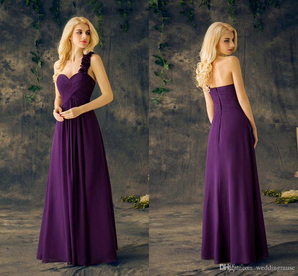 Real 2017 purple junior bridesmaid dresses one shoulder sleeveless real 2017 purple junior bridesmaid dresses one shoulder sleeveless a line long floor length chiffon cheap bridesmaid dresses bridesmaides dresses burnt ombrellifo Images