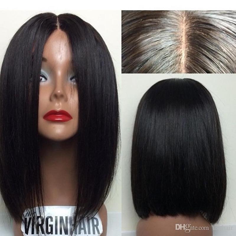 غلويليس يشبع الإنسان باروكات الشعر القصير بوب لمة الماليزية عذراء الشعر الحرير مستقيم الرباط الجبهة الإنسان الشعر الباروكات للنساء السود