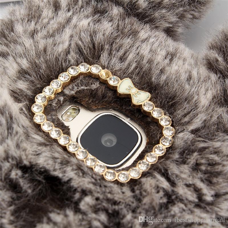 Caso della copertura della sfera della pelliccia della cassa TPU della peluche sveglia del peluche del coniglio sveglio iPhone X Xr Xs massimo 8 7 6 6S più Sumsung S8 S9 più nota 8 9