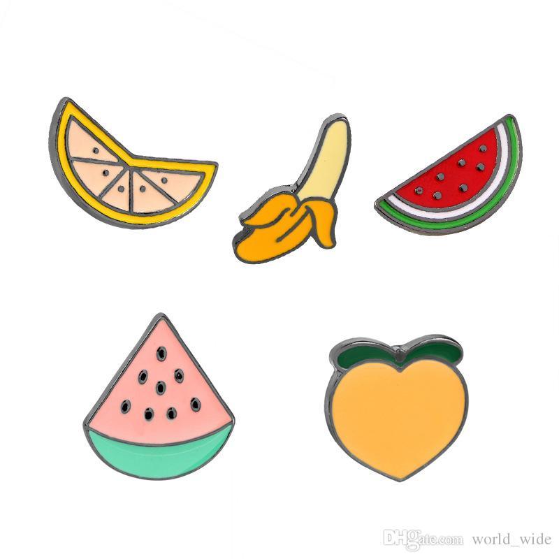Colorido Esmalte Pins Collar Solapa Insignia Pin Broche DIY Fruta Melocotón Plátano Sandía Naranja regalo de los niños