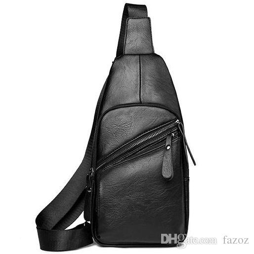 Men PU Leather Travel Chest Pack Single Shoulder Cross Body Backpack Phone Bag  Casual Sling Pack Outdoor Hiking Small Cross Chest Bag Small Chest Packs ... 148fb743a611f