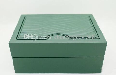 Lüks İzle Kutuları Mens Izle Kutusu Yeşil Orijinal Ahşap Iç Dış kadının Erkekler Için Saatler Kutuları Kağıtları