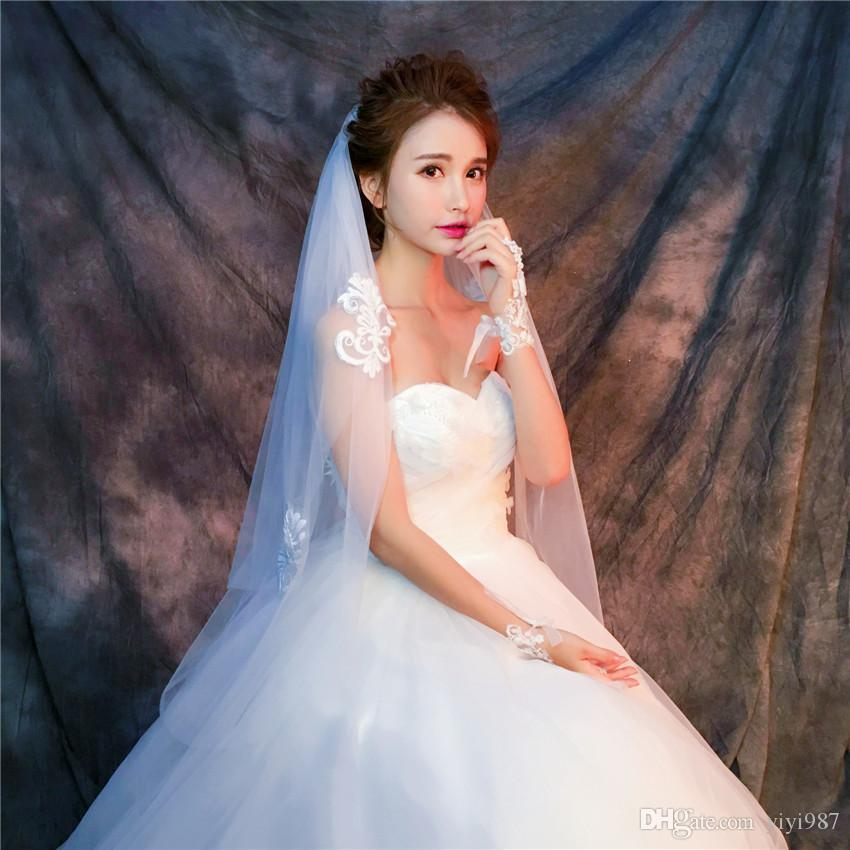 Two Layers Purple White Veils for Wedding Ivory Tulle Fast shipping out Cheap Wholesale Veils In China
