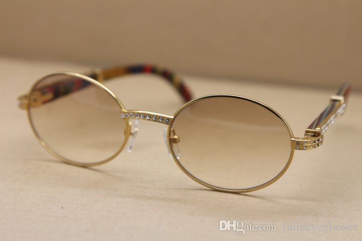 인기 남성 선글라스 장식 공작 나무 프레임 7,550,178 라운드 금속 다이아몬드 선글라스 C 장식의 골드 프레임 glasseFrame 크기 : 55-22-135mm