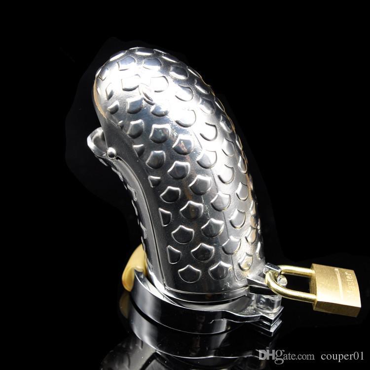 NOUVEAU En Acier Inoxydable Serpent-Tête Chasteté Dispositif Cage En Métal Pénis Verrouiller La Chasteté Pénis Anneau Adult Sex Toys A304