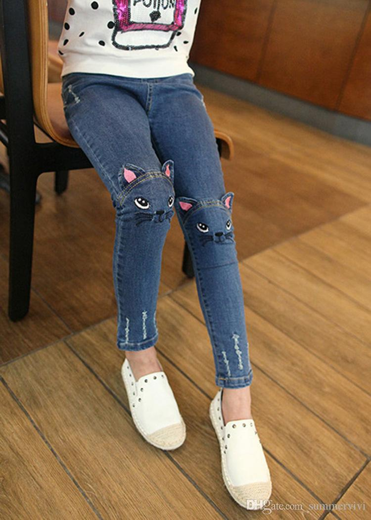 Girls Denim pants Fashion kids cats embroidery jeans children Hole cowboy pockets front back Pencil pants girls casual cashmere pants G0620