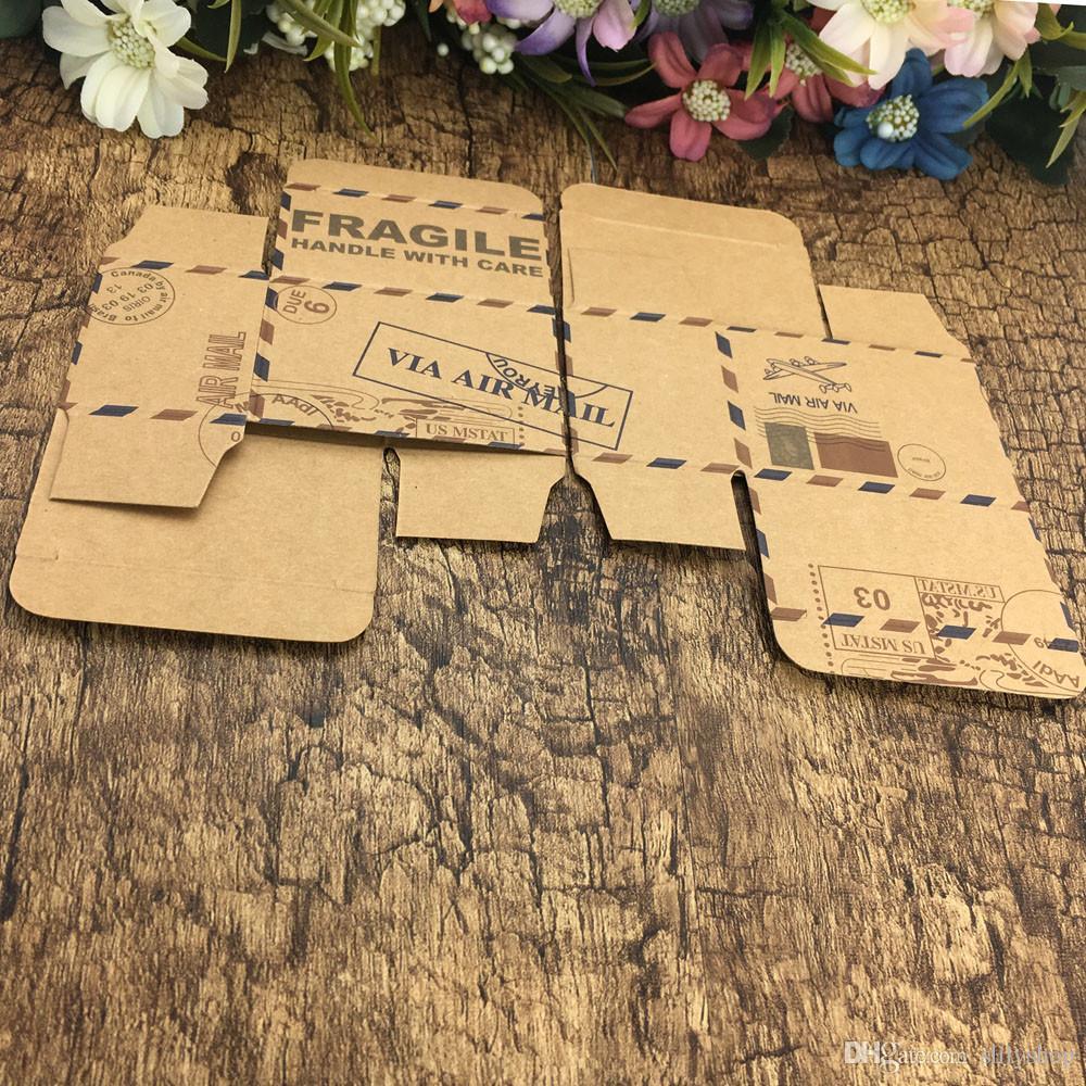 Vintage Faveurs Kraft Papier Boîte à bonbons Voyage Thème Voyage Avion Air Mail Emballage Cadeau Boîte Souvenirs De Mariage scatole regalo