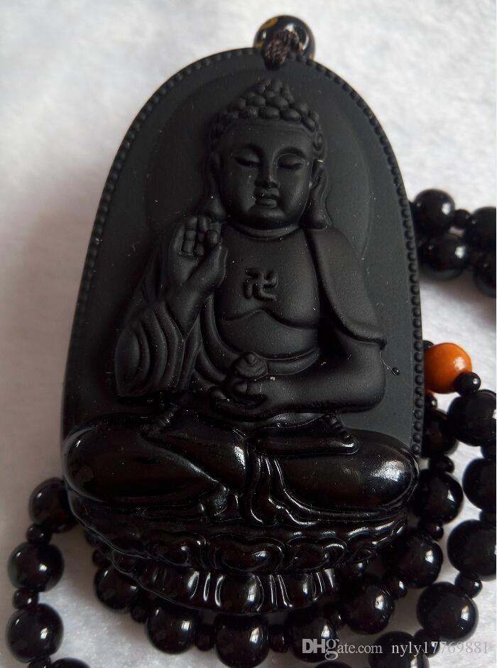 Natural Preto Obsidian Esculpido GuanYin Buda Pingente de Sorte + Colar frete grátis C78
