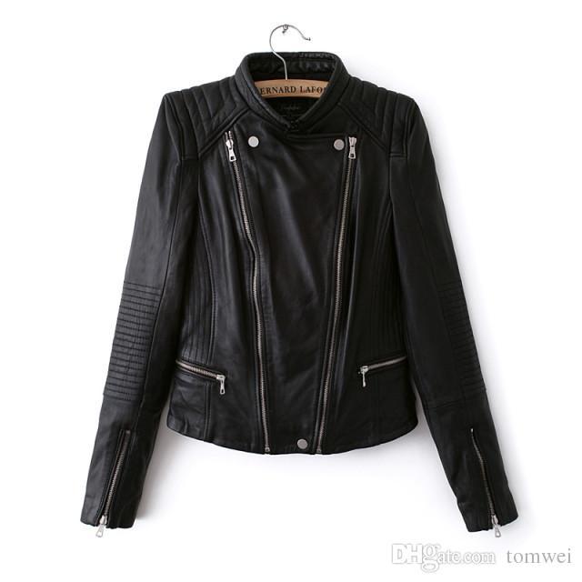 Jacken Reißverschluss Qualität Leder 15 Von Tomwei28 Jacke Mäntel Kurze Für Pu Biker Großhandel Schwarze Frauen Damen Motorrad Hohe Mantel Outwear MSGUqpzV