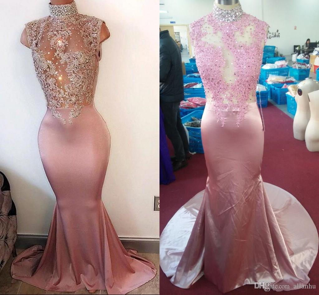 2017 Actual Photos Elegant Mermaid Prom Dresses High Beads Neck Court Train Robe De Soiree Formal Evening Gowns Custom Made Cheap Dress