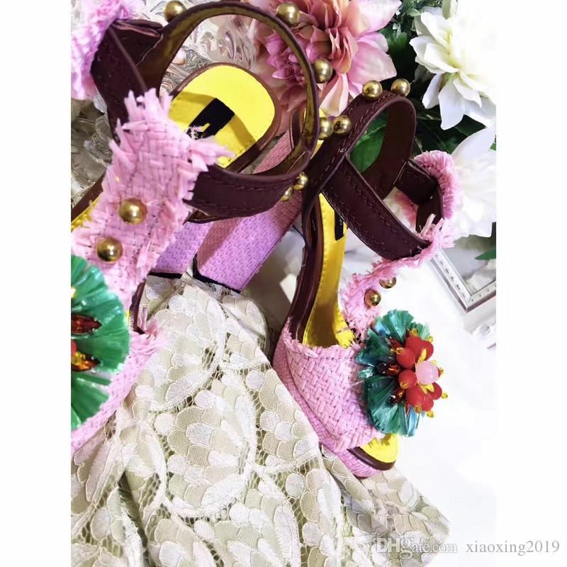 Scarpe fatte a mano in vera pelle 100% Scarpe con tacco alto da donna Scarpe da donna design classico Sandali della Boemia Scarpe da sposa sexy Scarpe da sposa Sandalo di lusso
