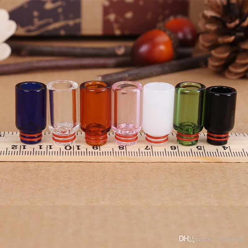 Newest Pyrex Glass Drip Tip 510 Drip Tips Colorful Long Mouthpiece for 510 Thread Atomizers Tank RDA RTA E Cig Vape DHL Free