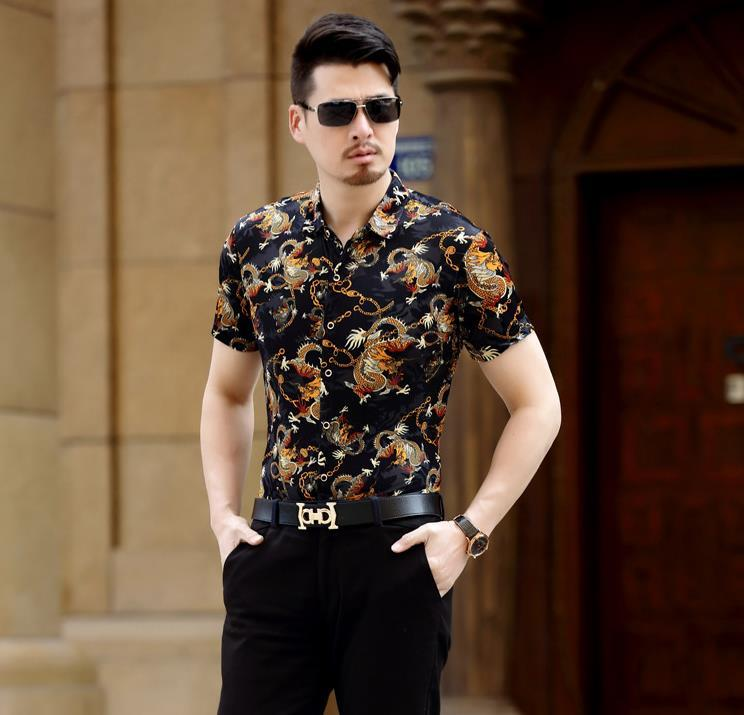 Style chinois Dragon Pattern Print Soie Business Casual Chemise à manches courtes Mens Summer Fashion Chemises respirant